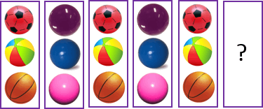 This image shows the different designs and colours of balls