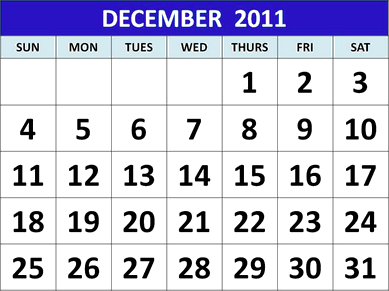 This image shows the calendar of December 2011