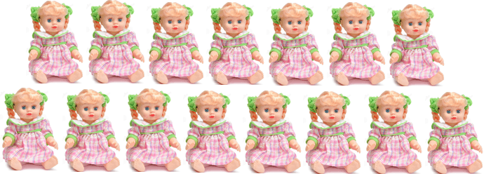 This picture shows the 15 dolls