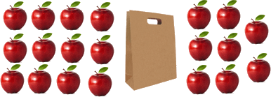 This image shows the bags in each has 10 apples – Choice D