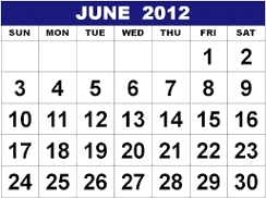 This image of calendar shows June 2012