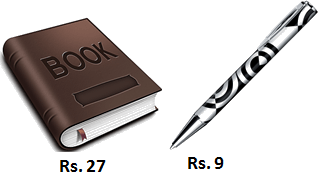 Book and pen price are given in image