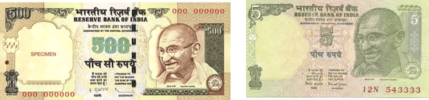 Image shows the Rs.500 and Rs.5 notes