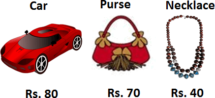 Image shows the car, purse and necklace price