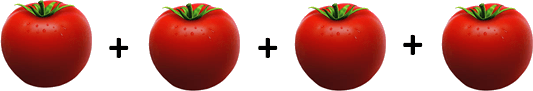 Image shows the sum of four tomatoes weight.