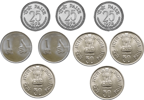 Image shows the different coins
