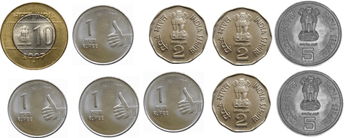 One, two, five and ten rupees coins are given in image