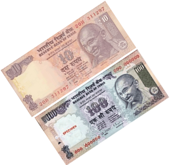 Image shows the some notes of rupees Choice - C
