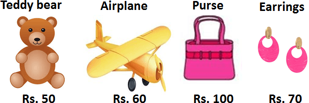 Image shows the teddy bear, airplane, purse and earrings price