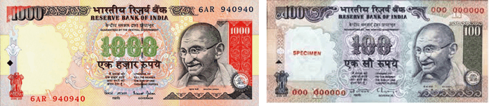 Image shows the Rs.1000 and Rs.100 notes