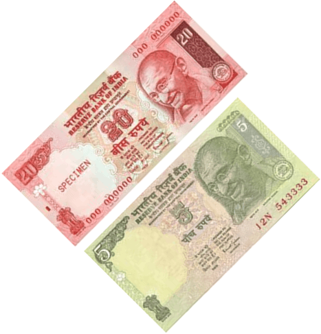 Image shows the some notes of rupees Choice - A