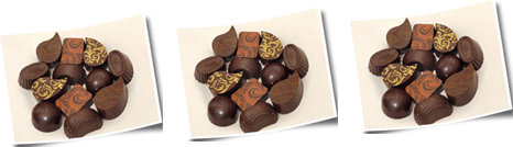 Image shows the plates and pieces of chocolate