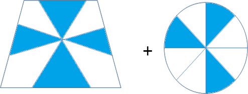 Images of a circle and trapezoid having some shaded parts in it