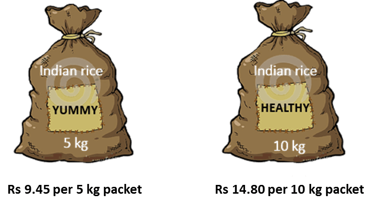 Two different packets with different weight of rice is given