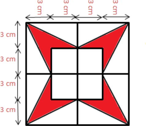 Figure of rectangle with red shaded part is given