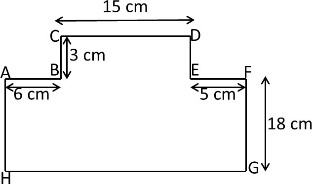Figure shows two rectangles AFGH and BCDE with given measure