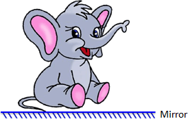 A cartoon image of elephant with a mirror at horizontal plane