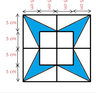 Figure of rectangle with blue shaded part is given