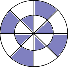 Two circles are given – Find the shaded fraction