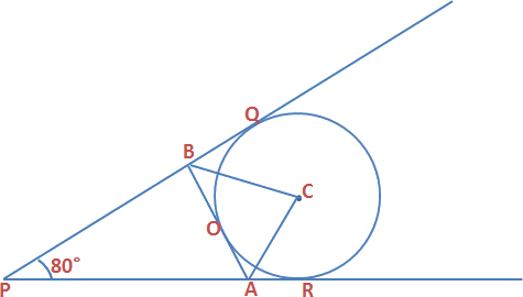 Triangle PAB is formed by 3 tangents to circle with center O
