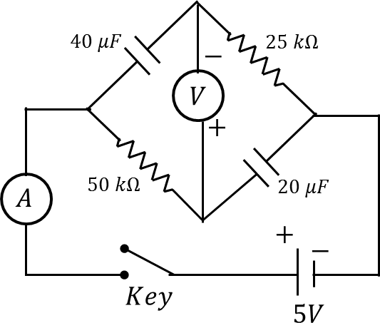 Circuit of two resistors and two capacitors
