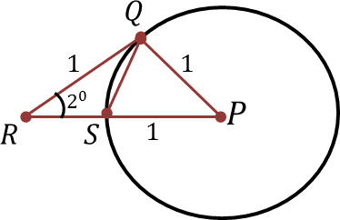 A circle with center P and radius 1