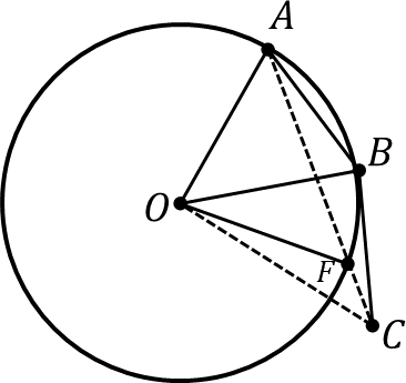 Circle with center O and points A, B, F lie on the circle
