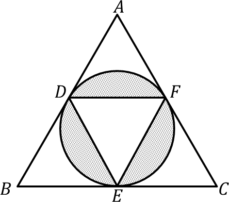 A equilateral triangle ABC with mid points of sides D, E, F