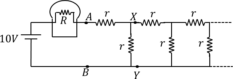 A circuit diagram of light bulb and infinite resistor network