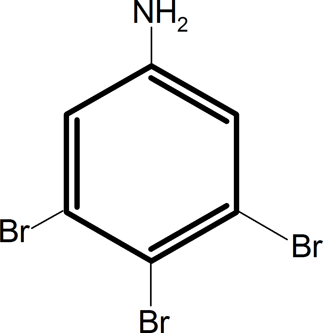 Aniline reacts with bromine and the final product is – Choice D