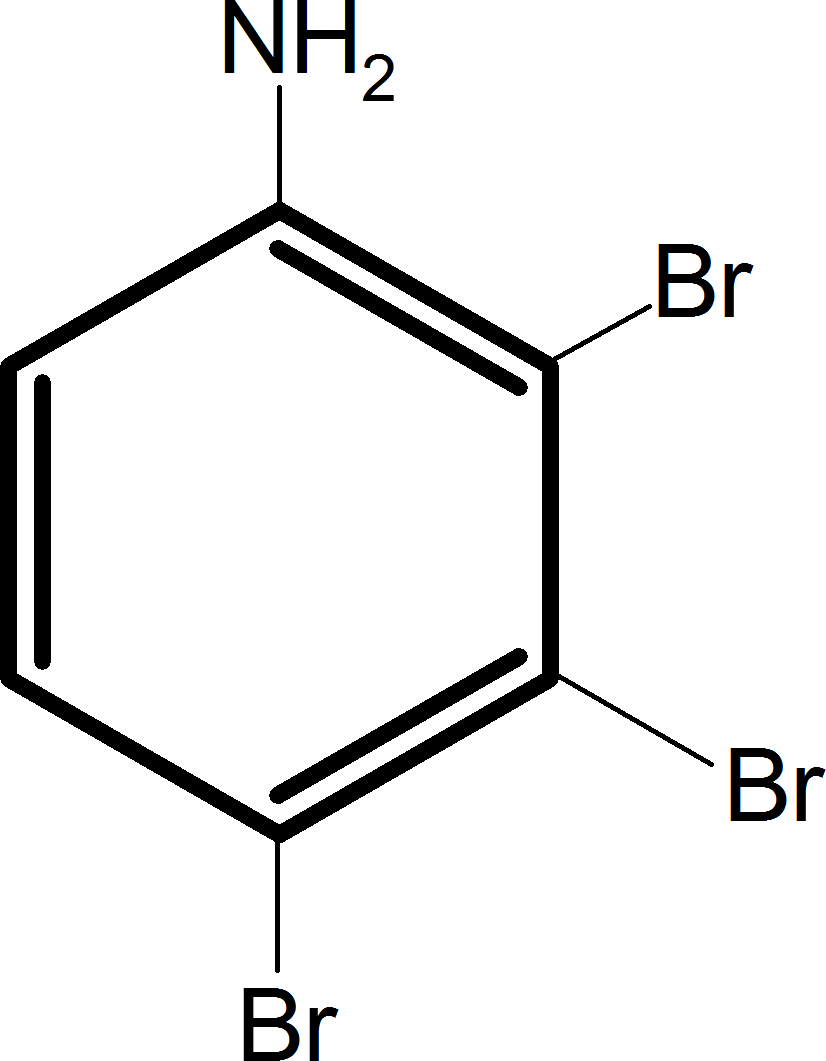 Aniline reacts with bromine and the final product is – Choice B