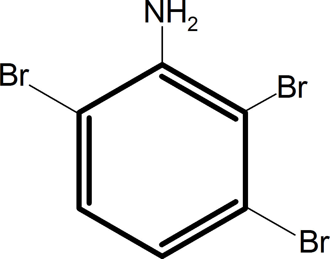Aniline reacts with bromine and the final product is – Choice C