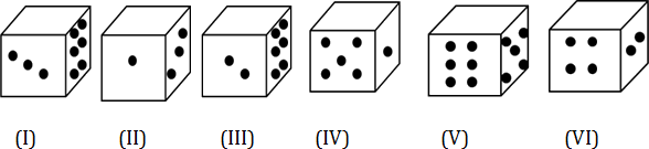 Image of six different dices with erased upper part in all