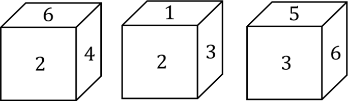 Image of Three positions of a cube