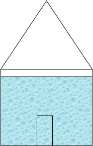 What is the shape of the shaded area in the hut.