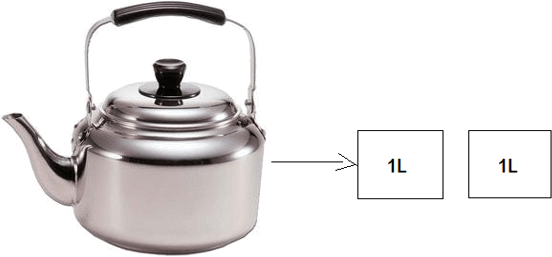 Calculate how much water can the kettle hold.