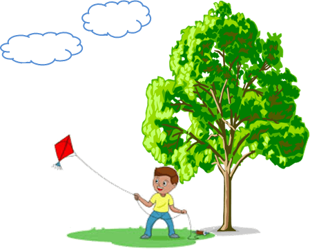 This diagram shows the boy with flying kite