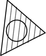 Problem figure of triangle parts fill with lines– Choice B