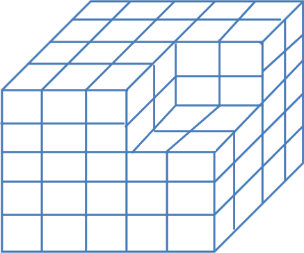 The Some equal cubes are arranged in the form of a solid block