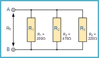 Resistors connected in a parallel network
