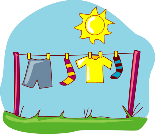 Spreading wet clothes on a clothesline for drying
