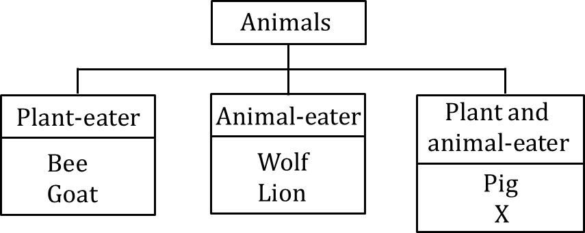 Figure shows the classification chart of animals