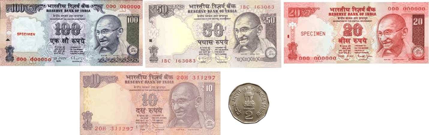 Image shows 4 notes and 1 coin
