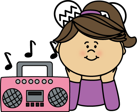 Picture shows the girl listening music