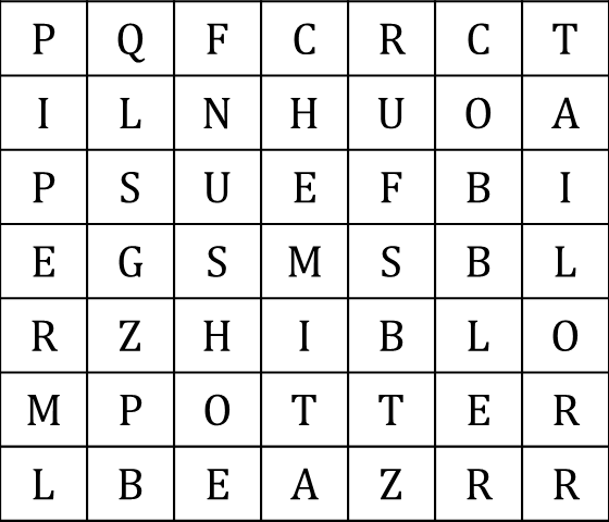 Figure shows the word grid