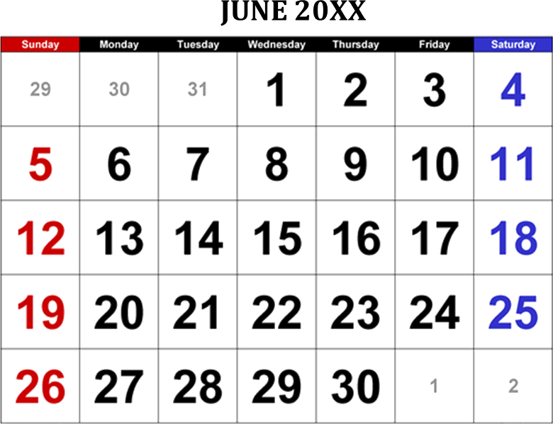 Image shows June 20XX calendar