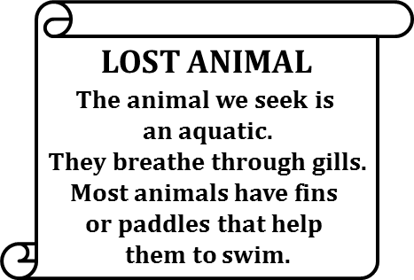 Poster shows lost animal of an aquatic