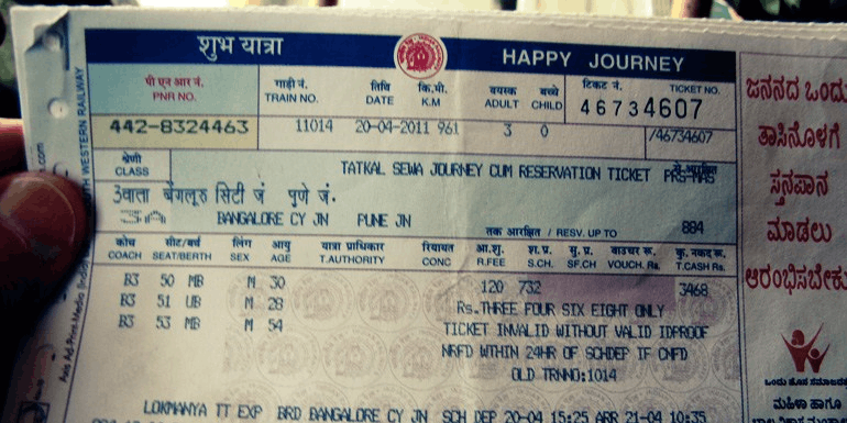 Image shows the Railway ticket