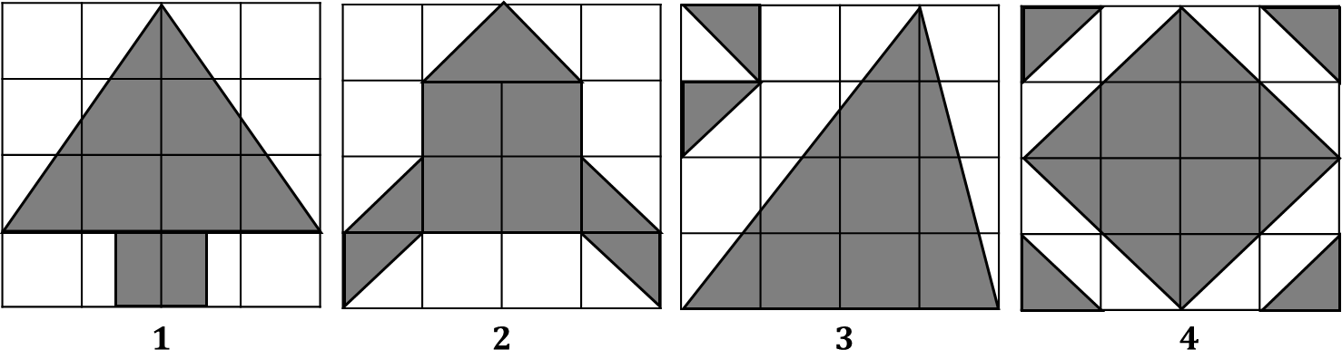 Figure shows 4 areas with shaded part