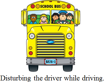 Image shows the safety rules while traveling in a bus: Choice D